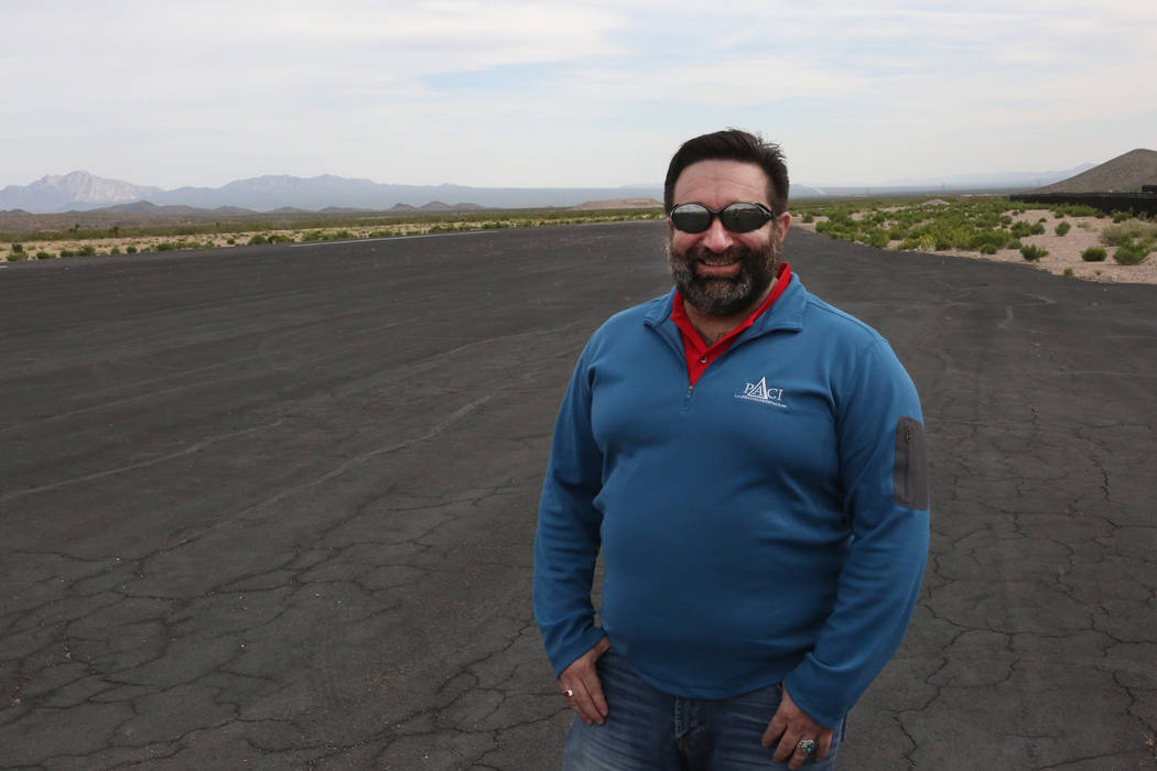 Jonathan Daniels, founder of Praxis Aerospace Concepts International, on the runway of Searchlight airport, where he plans to open a drone testing site, on Tuesday, April 11, 2017. Michael Quine/L ...
