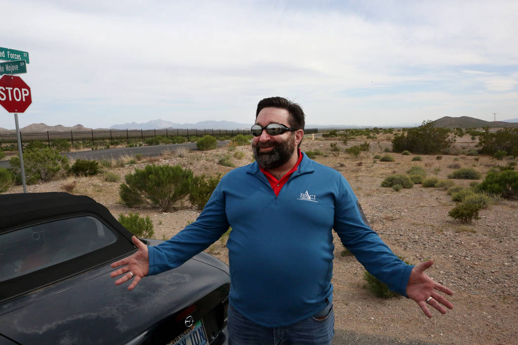 Jonathan Daniels, founder of Praxis Aerospace Concepts International, describes his plans to open a drone testing site at the remote Searchlight airpark on Tuesday, April 11, 2017. Michael Quine/L ...