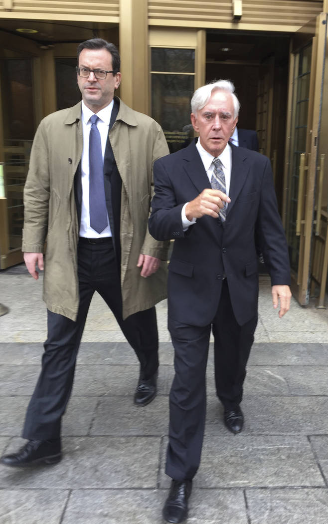 """William """"Billy"""" Walters, right, leaves Manhattan federal court in New York, with his attorney, Barry Berke, Friday, April 7, 2017, after he was convicted of insider trading charg ..."""