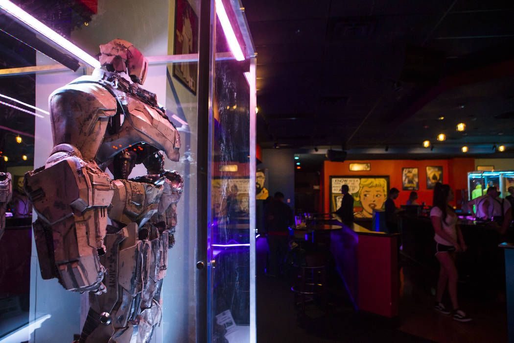 """A life-size Hammer Drone from """"Iron Man"""" at The Nerd nightclub at Neonopolis in downtown Las Vegas on Saturday, April 8, 2017. Chase Stevens View @csstevensphoto"""