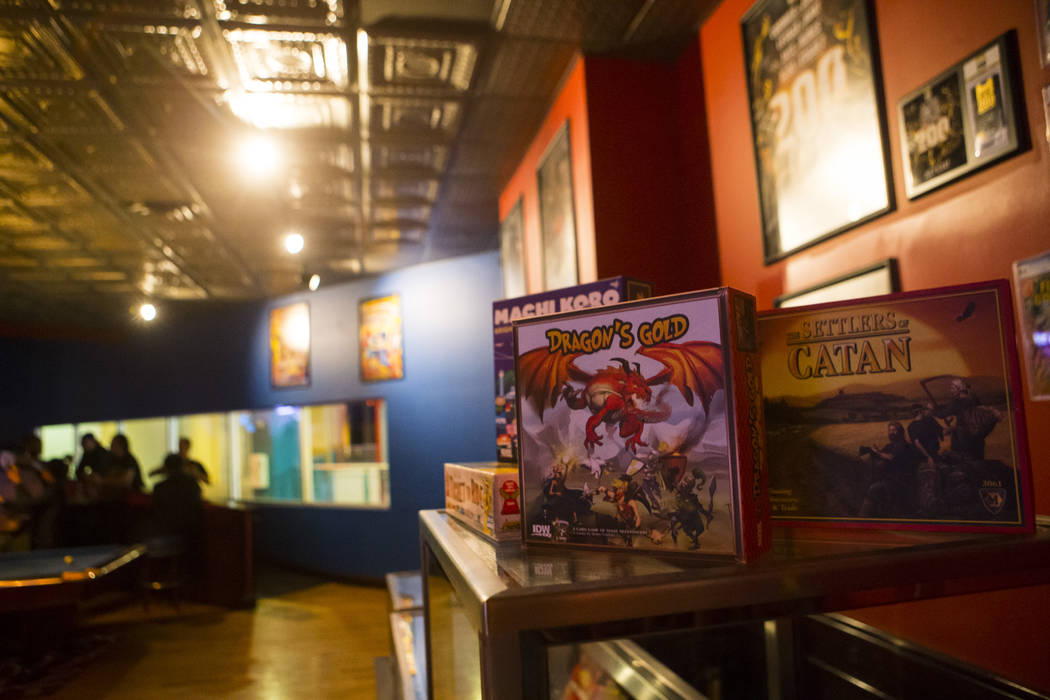 Patrons can choose to a variety of board games to play at The Nerd nightclub at Neonopolis in downtown Las Vegas on Saturday, April 8, 2017. Chase Stevens View @csstevensphoto