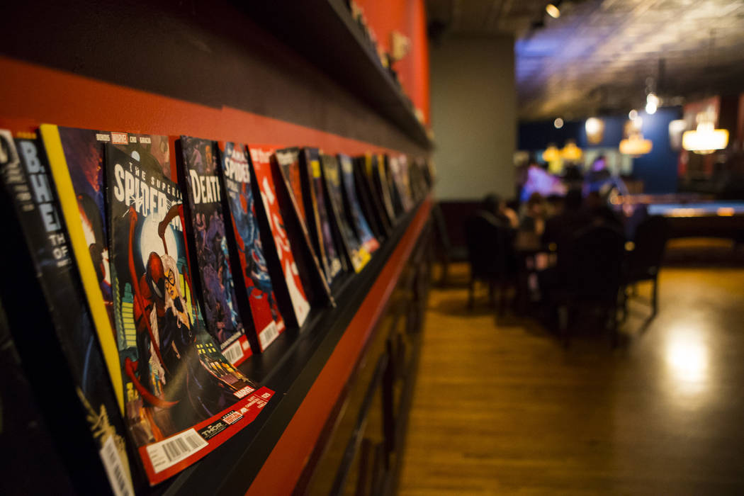 Comic books along a wall at The Nerd nightclub at Neonopolis in downtown Las Vegas on Saturday, April 8, 2017. Chase Stevens View @csstevensphoto