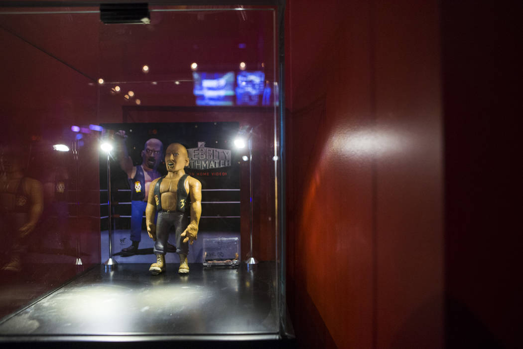 """A figurine from """"Celebrity Deathmatch"""" at The Nerd nightclub at Neonopolis in downtown Las Vegas on Saturday, April 8, 2017. Chase Stevens View @csstevensphoto"""