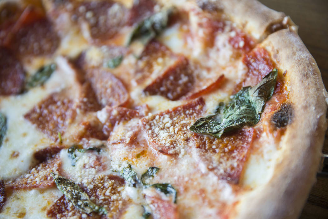 Tony's pepperoni pizza with grilled pepperoni slices, San Marzano tomato sauce, mozzarella and basil at Plantone's Italian Market on Saturday, April 8, 2017, in Las Vegas.  Benjamin Hager Las Vega ...