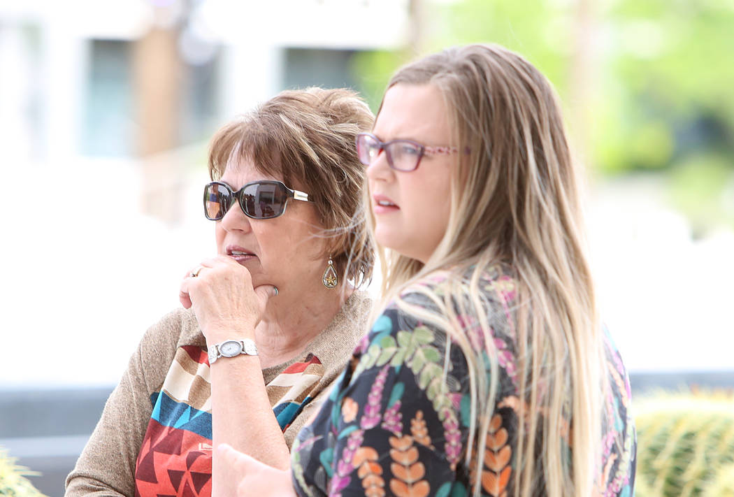 Carol Bundy, wife of rancher Cliven Bundy, left, and her daughter Bailey Louge as they await the jury's verdict in the first Bunkerville standoff trial outside Lloyd George U.S. Courthouse on Mond ...
