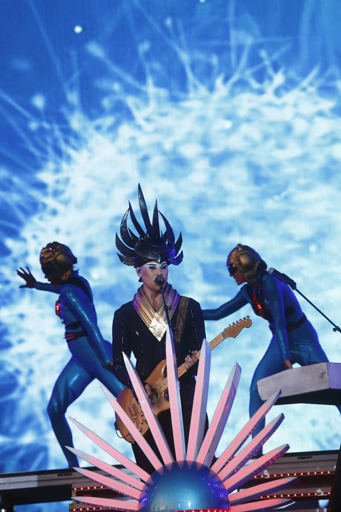 Luke Steele and Empire of the Sun performs at Rock in Rio USA at the MGM Resorts Festival Grounds on Saturday, May 16, 2015, in Las Vegas. (Photo by John Davisson/Invision/AP)