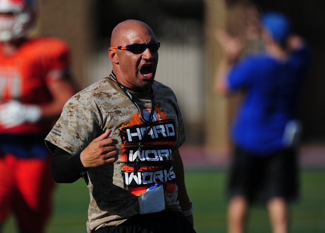 Bishop Gorman head coach Kenny Sanchez yells out instructions during practice at Bishop Gorman High School in Las Vegas, Wednesday, Aug. 31, 2016. Josh Holmberg/Las Vegas Review-Journal