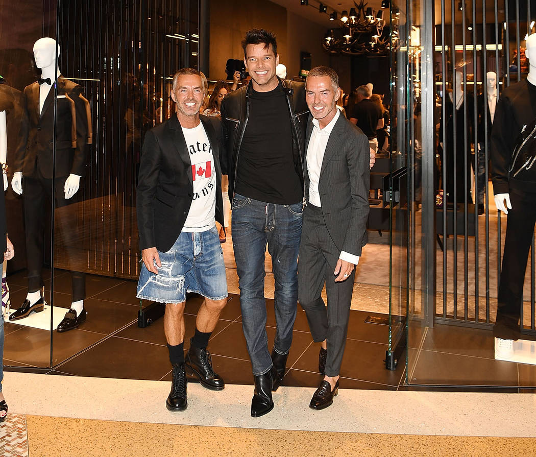 Ricky Martin and fashion designers Dan Caten and Dean Caten attend the grand opening party for Dsquared2 at The Shops at Crystals on on April 6, 2017 in Las Vegas, Nevada. Denise Truscello/Getty I ...