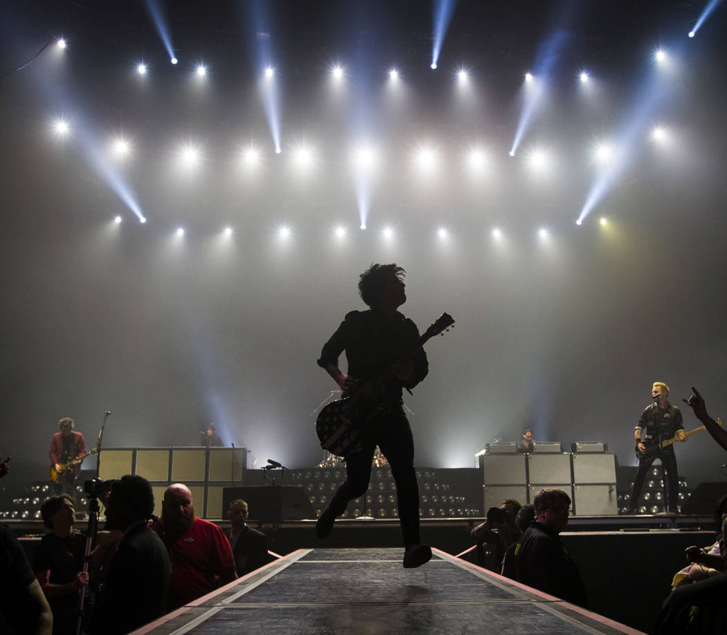Billie Joe Armstrong of Green Day performs at the MGM Grand Garden Arena in Las Vegas on Friday, April 7, 2017. Chase Stevens Las Vegas Review-Journal @csstevensphoto