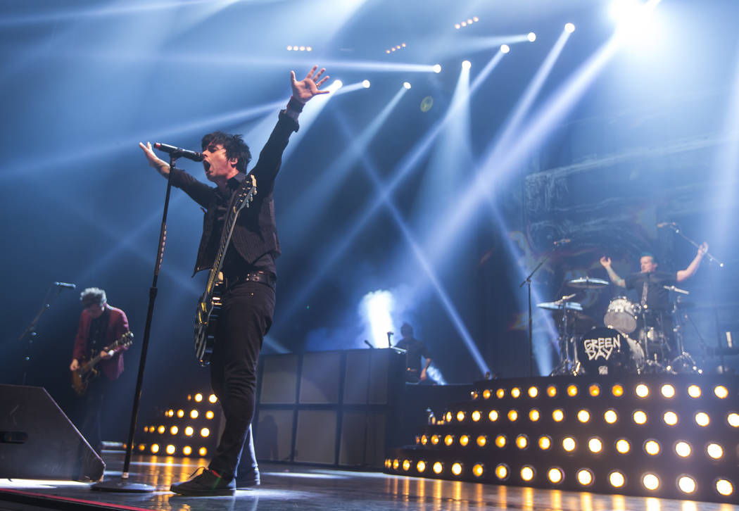 Billie Joe Armstrong, left, and Tre Cool of Green Day perform at the MGM Grand Garden Arena in Las Vegas on Friday, April 7, 2017. Chase Stevens Las Vegas Review-Journal @csstevensphoto