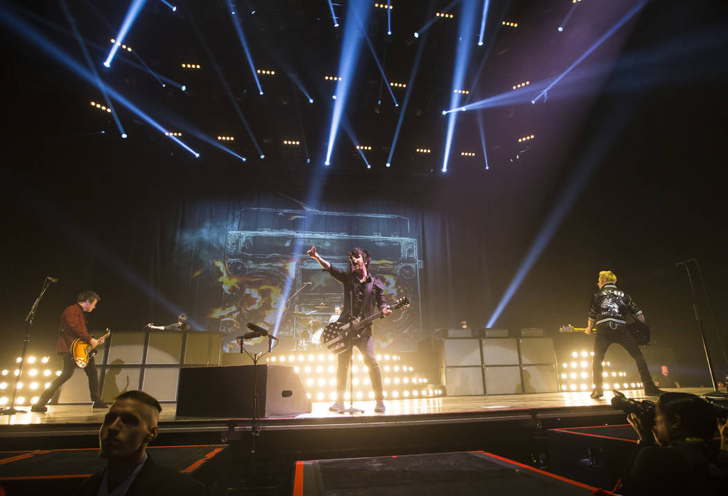 Green Day performs at the MGM Grand Garden Arena in Las Vegas on Friday, April 7, 2017. Chase Stevens Las Vegas Review-Journal @csstevensphoto