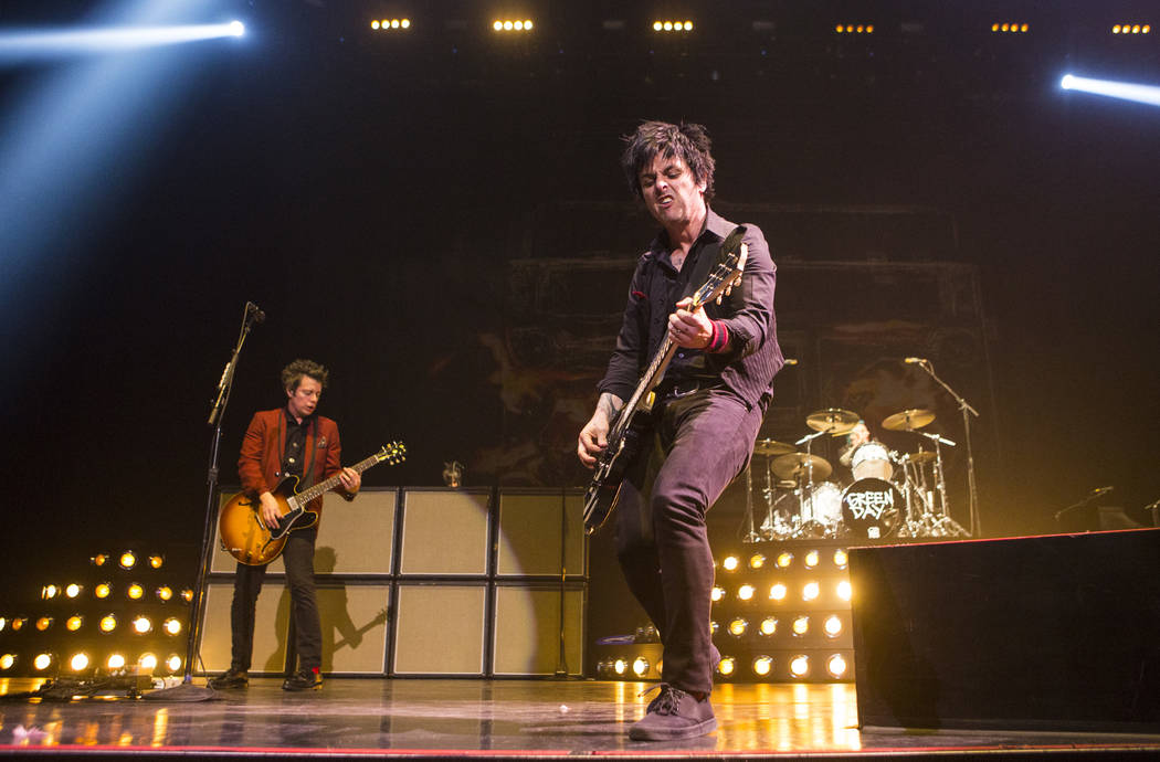 Billie Joe Armstrong, right, of Green Day performs at the MGM Grand Garden Arena in Las Vegas on Friday, April 7, 2017. Chase Stevens Las Vegas Review-Journal @csstevensphoto