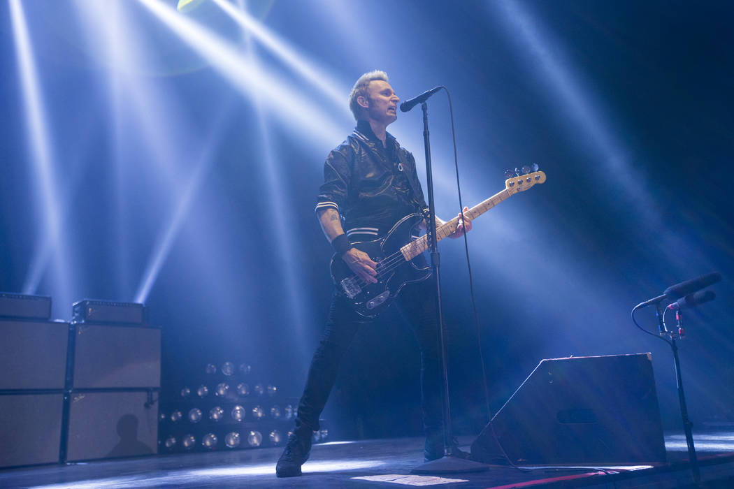 Mike Dirnt of Green Day performs at the MGM Grand Garden Arena in Las Vegas on Friday, April 7, 2017. Chase Stevens Las Vegas Review-Journal @csstevensphoto