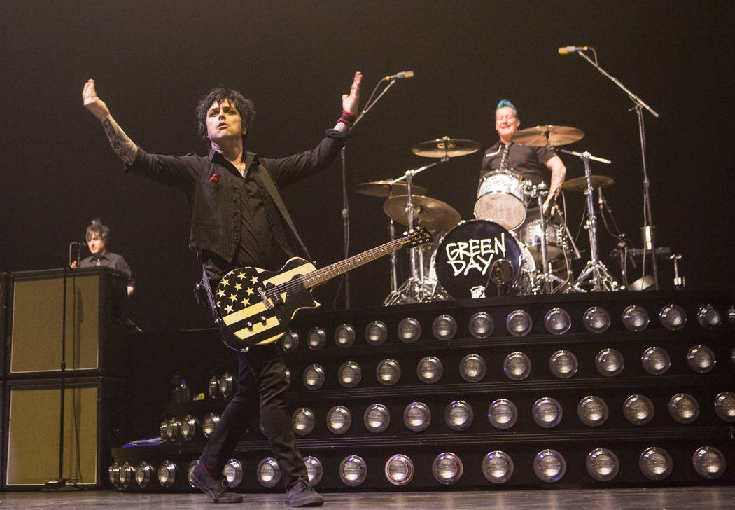 Billie Joe Armstrong, left, and Tre Cool of Green Day performs at the MGM Grand Garden Arena in Las Vegas on Friday, April 7, 2017. Chase Stevens Las Vegas Review-Journal @csstevensphoto