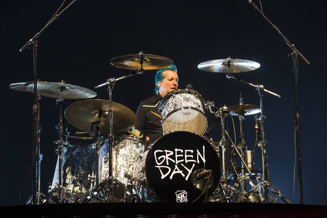 Tre Cool of Green Day performs at the MGM Grand Garden Arena in Las Vegas on Friday, April 7, 2017. Chase Stevens Las Vegas Review-Journal @csstevensphoto