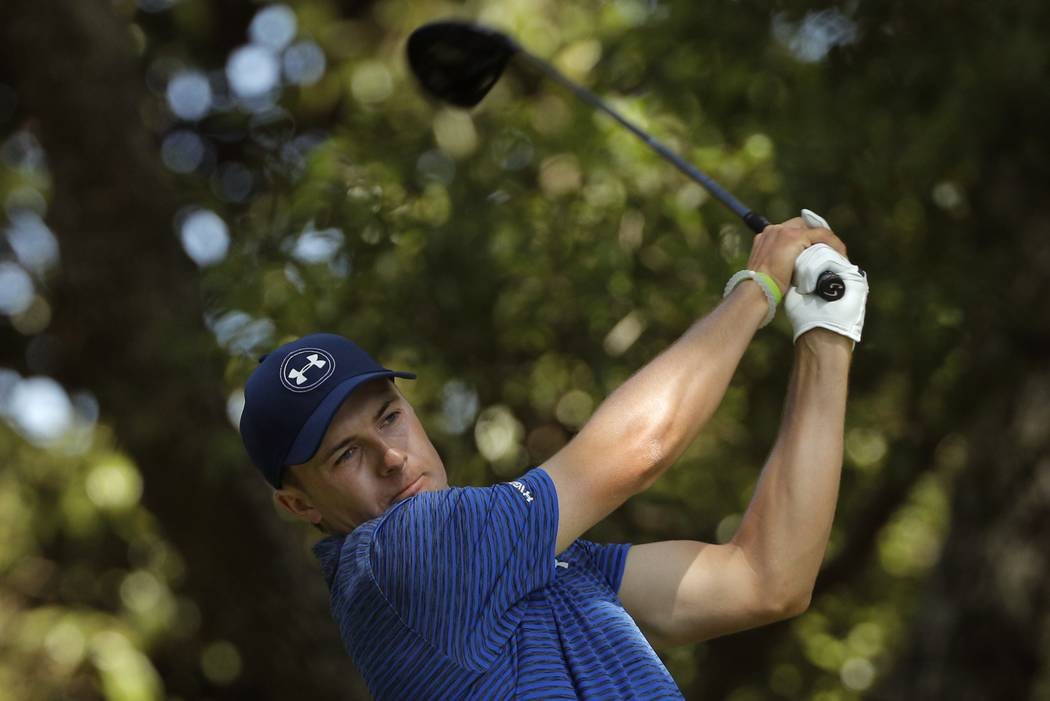 Jordan Spieth of the U.S. watches his ball as he hits off the second tee in third round play during the 2017 Masters golf tournament at Augusta National Golf Club in Augusta, Georgia, U.S., April  ...