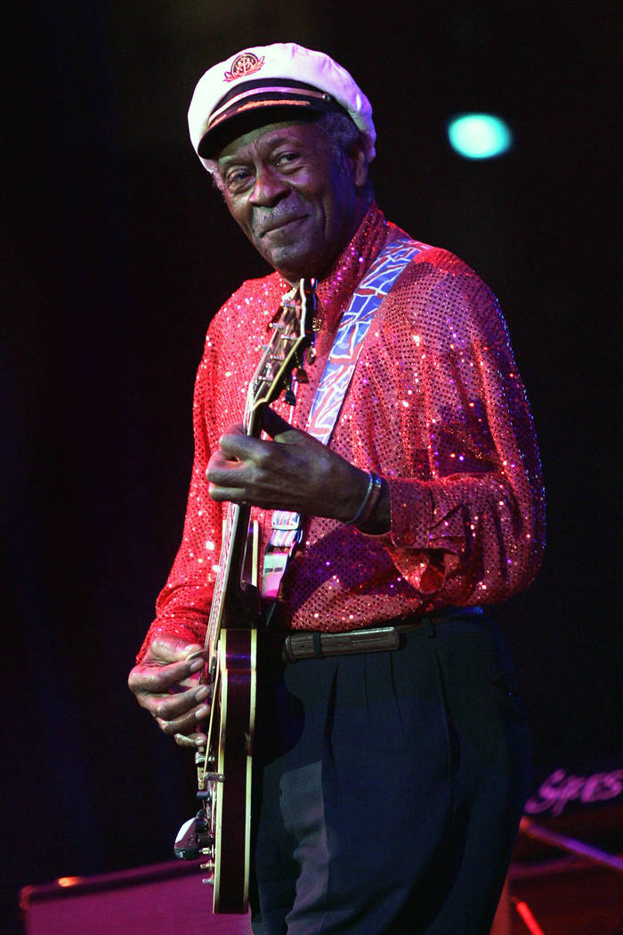 FILE - In this Saturday, May 30, 2009 file photo, Chuck Berry performs at The Domino Effect, a tribute concert to New Orleans rock and roll musician Fats Domino, at the New Orleans Arena in New Or ...