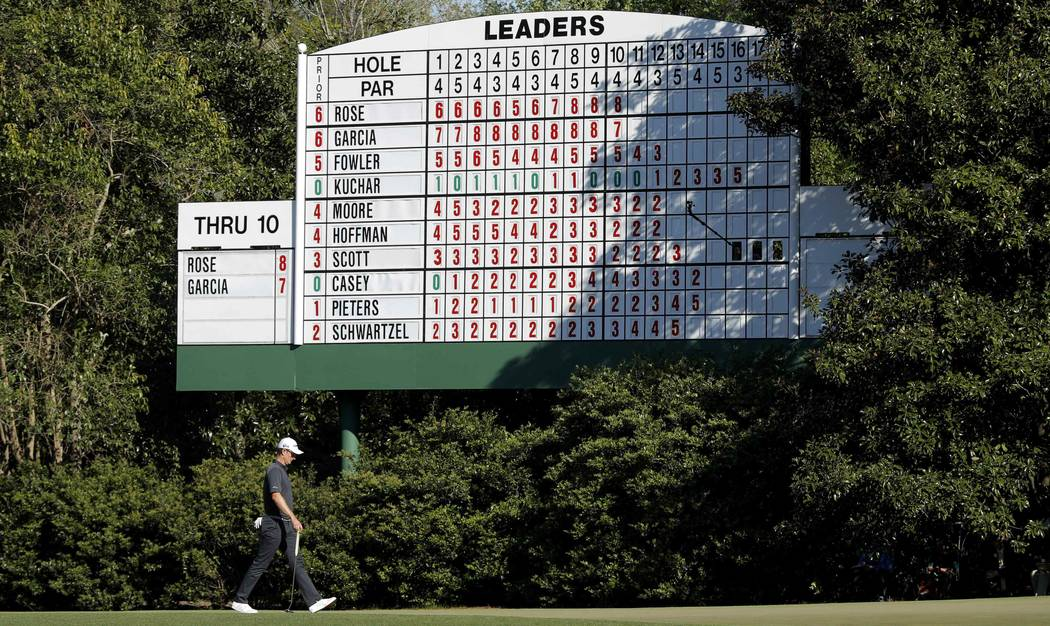 Justin Rose of England walks past the leaderboard on the 11th hole in final round play during the 2017 Masters golf tournament at Augusta National Golf Club in Augusta, Georgia, U.S., April 9, 201 ...