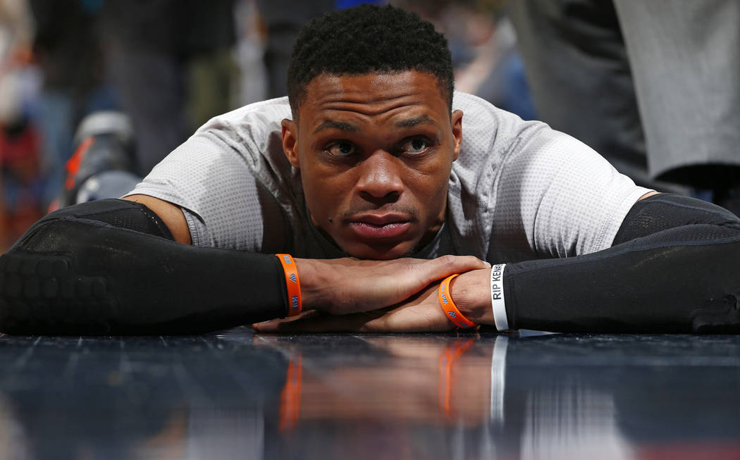 Oklahoma City Thunder guard Russell Westbrook stretches before a game against the Denver Nuggets Sunday, April 9, 2017, in Denver. (Jack Dempsey The Associated Press)