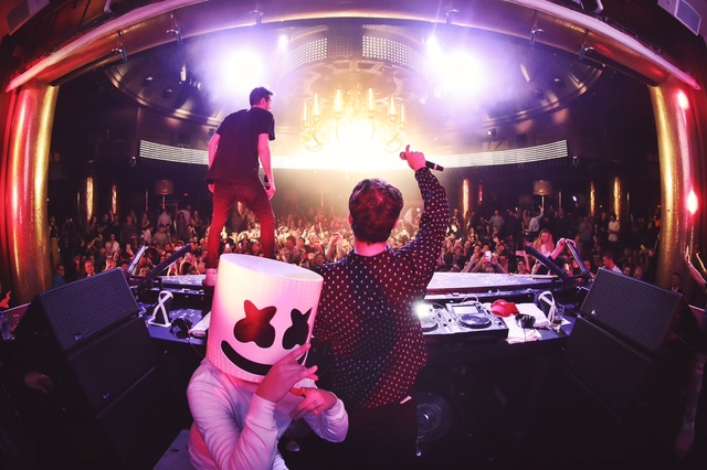 The Chainsmokers and DJ Marshmello at XS in Steve Wynn's Encore on Friday, Feb. 3, 2017, in Las Vegas. (Danny Mahoney)