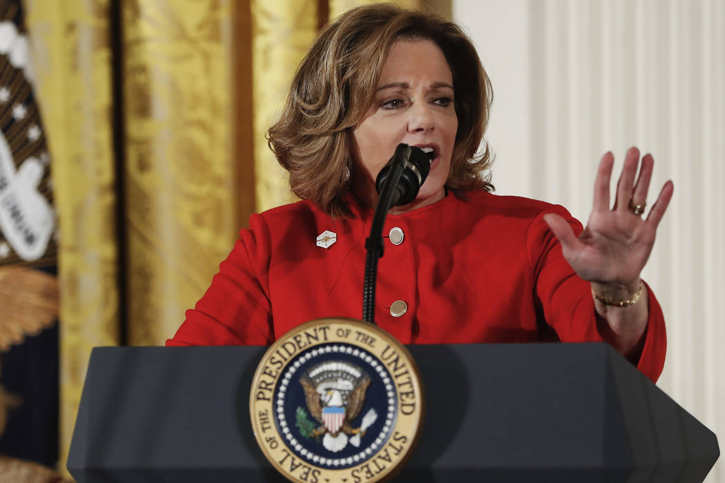 Deputy National Security Adviser K.T. McFarland speaks March 29, 2017, at the Women's Empowerment Panel, at the White House in Washington. (Pablo Martinez Monsivais/File, AP)