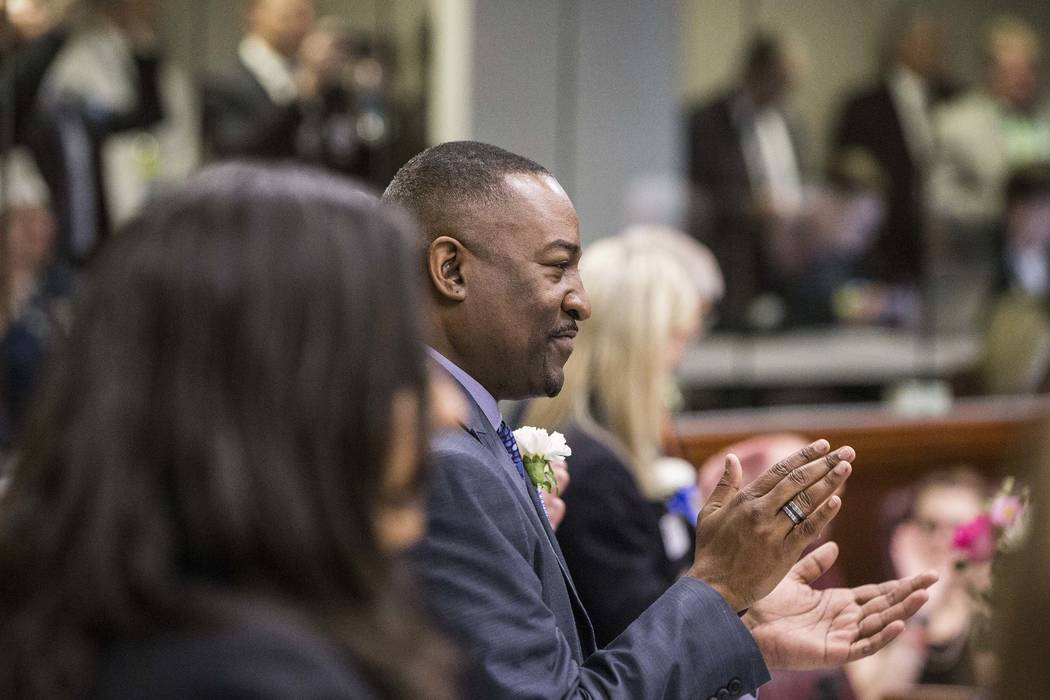 Assemblyman Tyrone Thompson claps for newly sworn in legislators on the first day of the Nevada Legislature, Feb. 6, 2017, in Carson City. (Benjamin Hager/Las Vegas Review-Journal) @benjaminhphoto