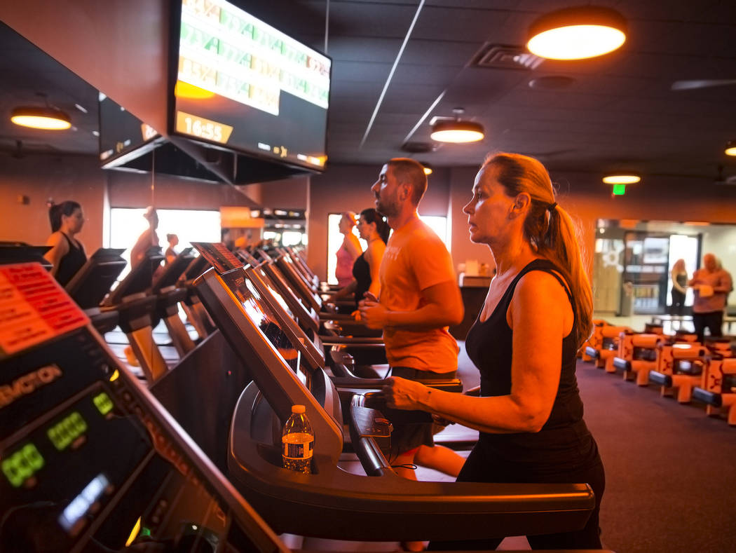 Orangetheory clients run on the treadmill during a training session at Orangetheory Fitness on Wednesday, April 5, 2017, in Las Vegas. (Benjamin Hager/Las Vegas Review-Journal) @benjaminhphoto