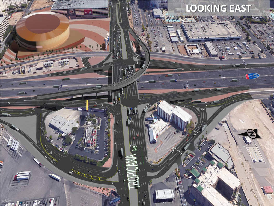 This rendering shows the planned design of a new interchange at Interstate 15 and Tropicana Avenue. (Nevada Department of Transportation)