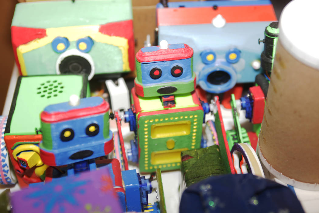 Robots at the home of Walt Perko who is working on a program called RoboGuts that teaches kids and hobbyists how to make robots at his home on Tuesday, April 11, 2017, in Las Vegas. (Rachel Aston/ ...