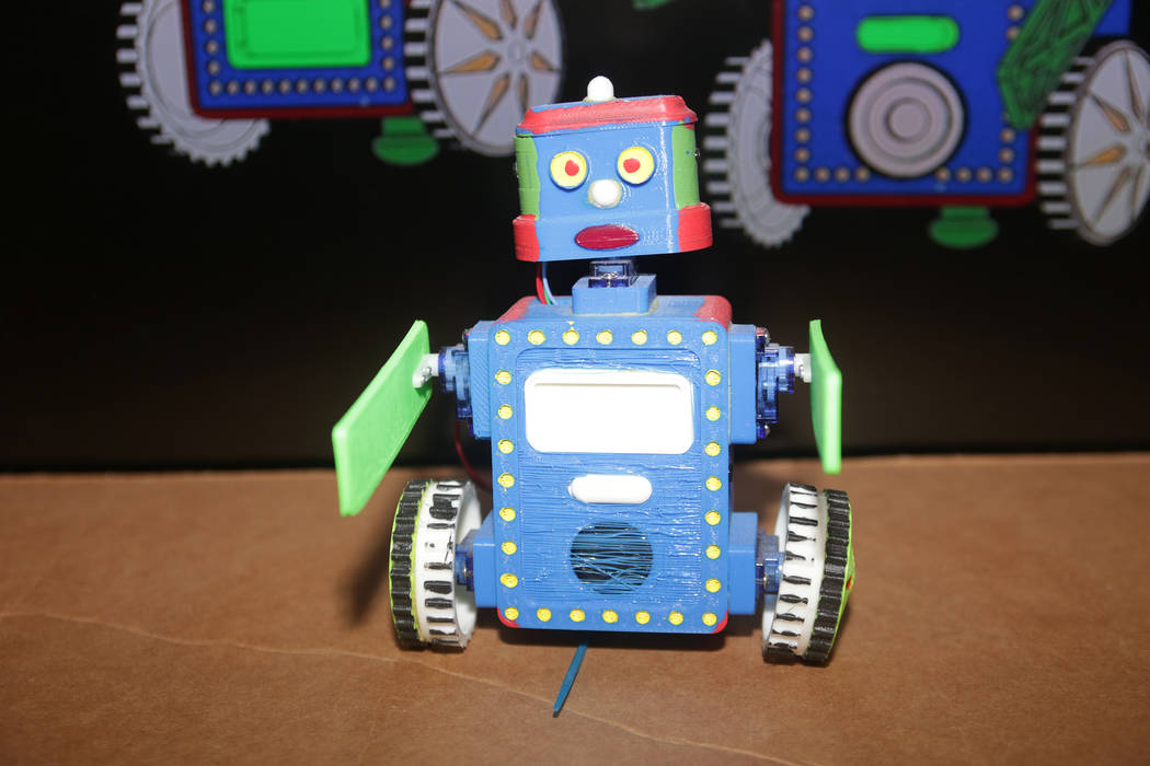 Billy Bot, a robot created by Walt Perko, who is working on a program called RoboGuts that teaches kids and hobbyists how to make robots at his home on Tuesday, April 11, 2017, in Las Vegas. (Rach ...
