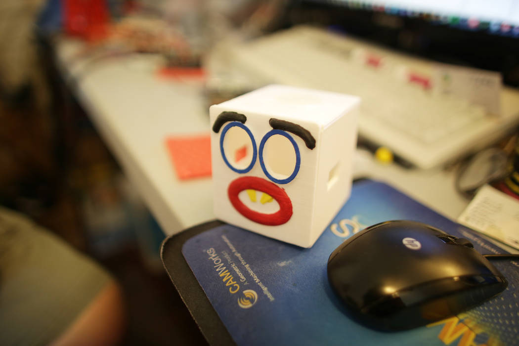 A robot head at the home of Walt Perko who is working on a program called RoboGuts that teaches kids and hobbyists how to make robots at his home on Tuesday, April 11, 2017, in Las Vegas. (Rachel  ...