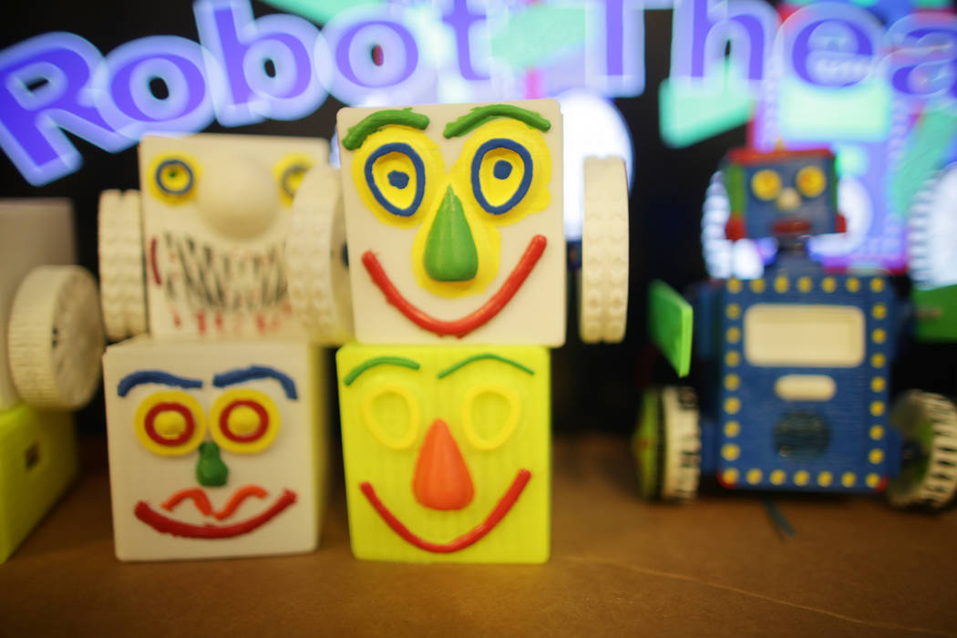 Stacked robot heads at the home of Walt Perko who is working on a program called RoboGuts that teaches kids and hobbyists how to make robots on Tuesday, April 11, 2017, in Las Vegas. (Rachel Aston ...