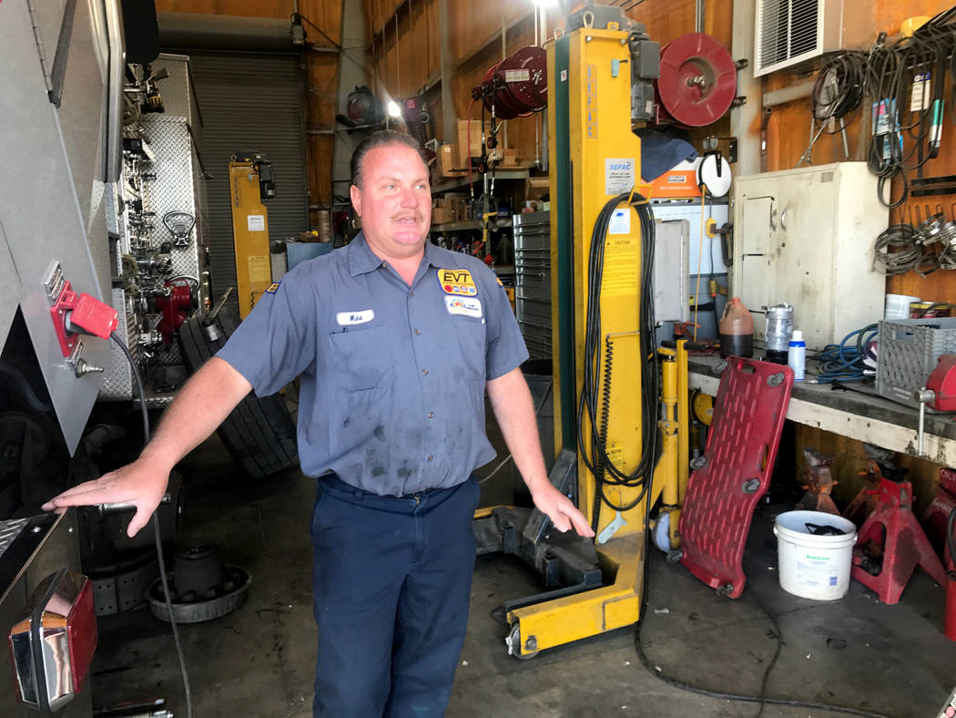 Mike Jerums works in the garage April 4, 2017, for the City of North Las Vegas' fleet services department at 100 E. Brooks Ave. Kailyn Brown View