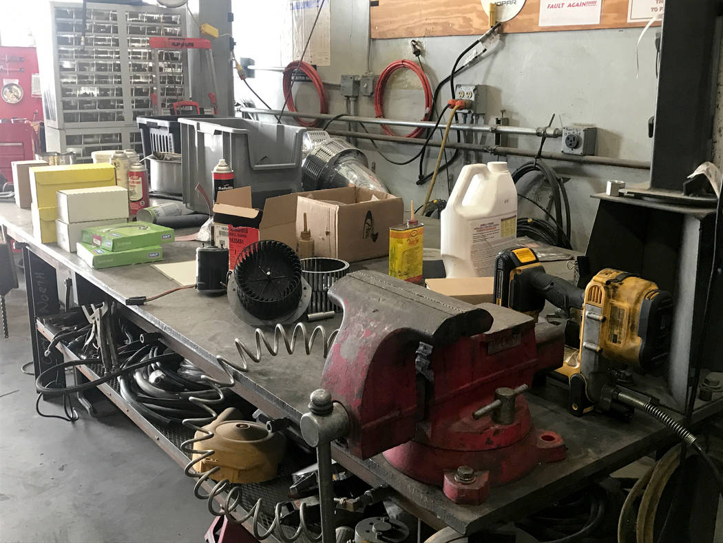 The City of North Las Vegas' fleet services garage is filled with equipment April 4, 2017, at 100 E. Brooks Ave. Kailyn Brown View