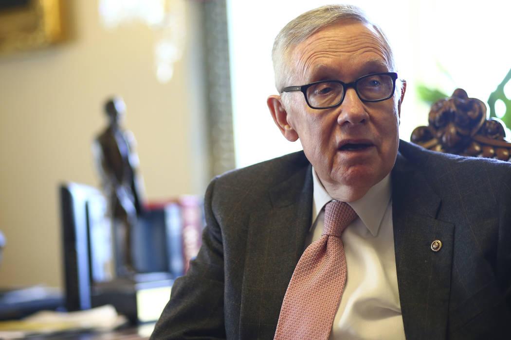 Senate Minority Leader Harry Reid, D-Nev., in his office on Capitol Hill in Washington on Monday, Dec. 5, 2016. (Chase Stevens/Las Vegas Review-Journal) @csstevensphoto