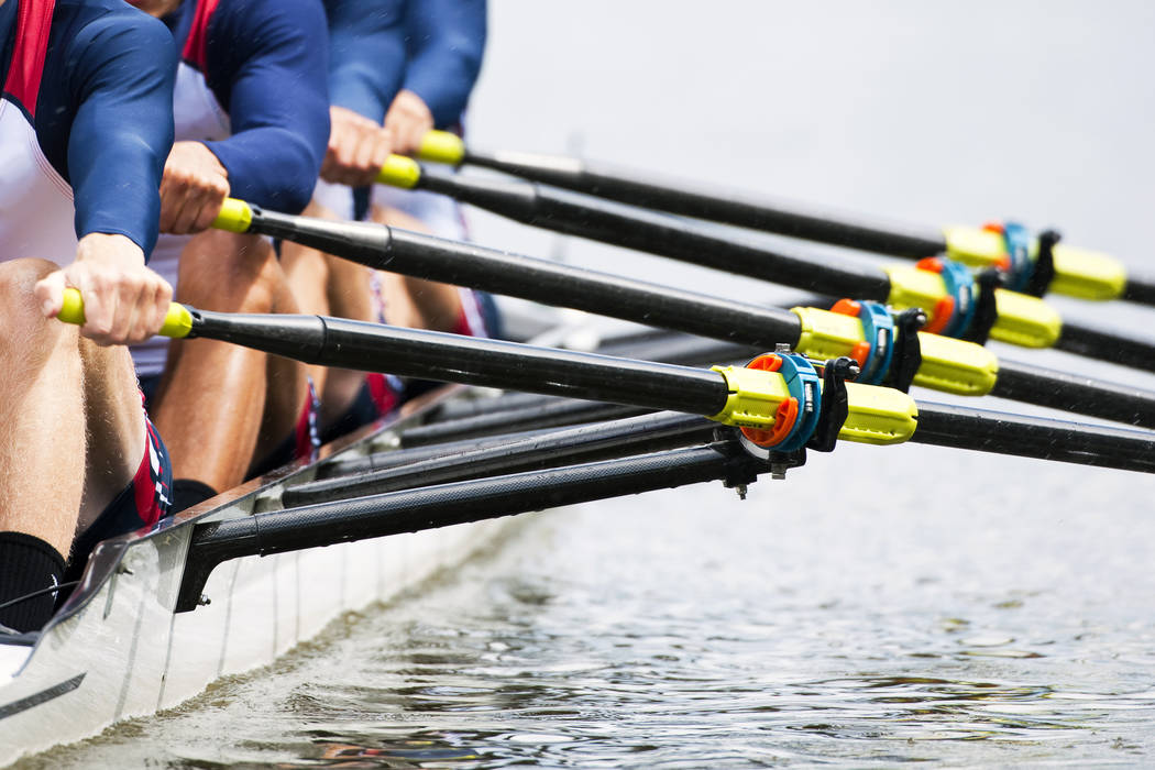 Close up of a men's rowing team. (Thinkstock)
