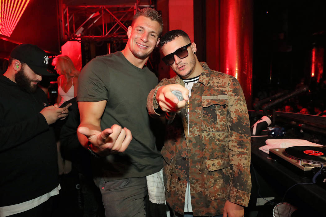 Rob Gronkowski and DJ Snake at XS at Steve Wynn's Encore on Friday, April 7, 2017, in Las Vegas. (Danny Mahoney)