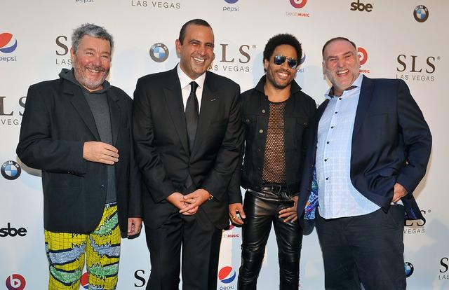 SLS Las Vegas Creative Director Philippe Starck; SBE founder, Chairman and CEO Sam Nazarian, musician Lenny Kravitz and SLS Las Vegas Culinary Director Jose Andres arrive at SLS Las Vegas' grand o ...