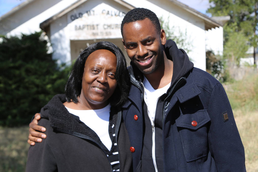 "Baron Vaughn and his mother, Charlotte, appear in a scene from the documentary ""Fatherless."" (Fusion)"