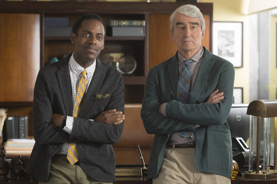 Baron Vaughn, left, and Sam Waterston Grace And Frankie Season 3 (Melissa Moseley/Netflix)