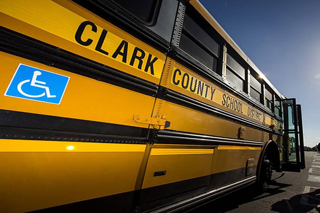 A bus arrives at Cortney Middle School, 5301 E. Hacienda Avenue, on Friday, Sept. 5, 2014. (Jeff Scheid/Las Vegas Review-Journal)
