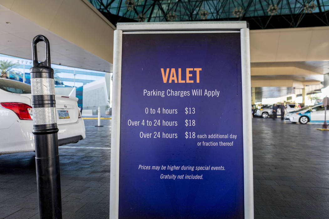 A sign at the MGM Grand hotel-casino valet parking area in Las Vegas, Tuesday, April 4, 2017. New, higher rates go into effect on Wednesday, April 12, 2017. (Elizabeth Brumley Las Vegas Review-Jou ...