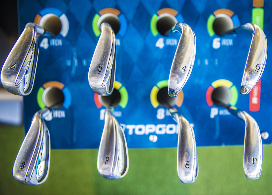 Topgolf Las Vegas offers guests a full set of irons and woods. Photo taken at Topgolf Las Vegas on Monday, April 10, 2017, at the MGM Grand hotel/casino, in Las Vegas. Benjamin Hager Las Vegas Rev ...