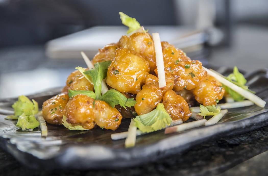 Crispy rock shrimp with apple celery slaw and asian aioli at Topgolf Las Vegas on Monday, April 10, 2017, at the MGM Grand hotel/casino, in Las Vegas. Benjamin Hager Las Vegas Review-Journal @benj ...