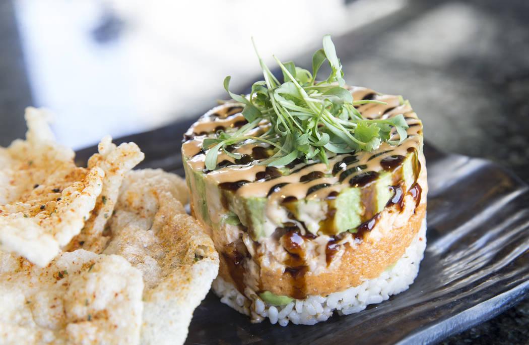 Spicy tuna & crab stack at Topgolf Las Vegas on Monday, April 10, 2017, at the MGM Grand hotel/casino, in Las Vegas. Benjamin Hager Las Vegas Review-Journal @benjaminhphoto