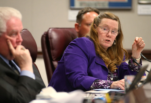 Nevada Assemblywoman Maggie Carlton, D-Las Vegas, talks about the Department of Motor Vehicle budget during a hearing at the Legislative Building in Carson City, Nev., on Tuesday, May 5, 2015. (Ca ...