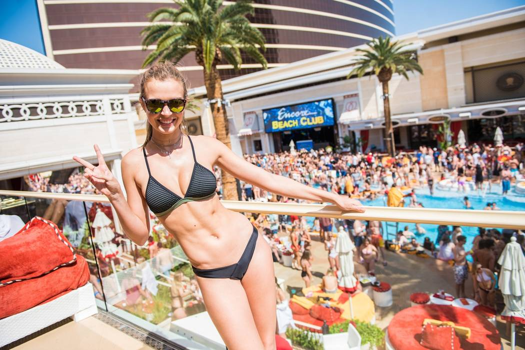 Josephine Skriver celebrates her 24th birthday at Encore Beach Club on Saturday, April 8, 2017, in Las Vegas. (Michael Kirschbaum)