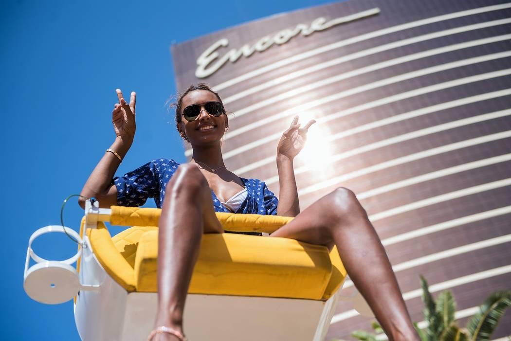 Jasmine Tookes celebrates Josephine Skriver's 24th birthday at Encore Beach Club on Saturday, April 8, 2017, in Las Vegas. (Michael Kirschbaum)
