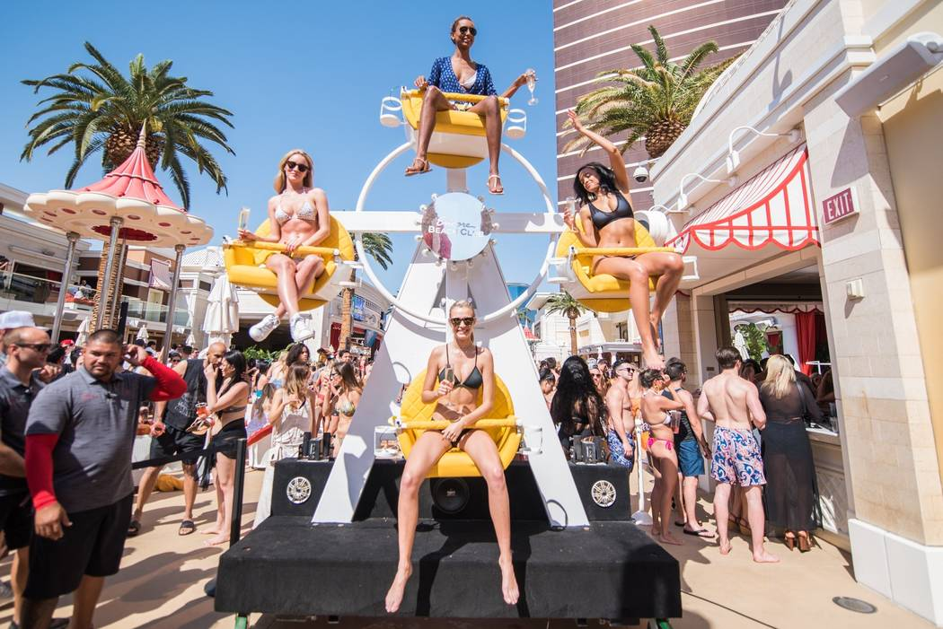 Josephine Skriver, bottom, celebrates her 24th birthday at Encore Beach Club on Saturday, April 8, 2017, in Las Vegas. (Michael Kirschbaum)