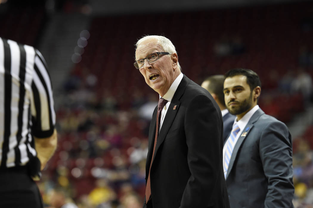 San Diego State head coach Steve Fisher offers his opinion to an official during their Mountain West Conference tournament game against UNLV Wednesday, March 8, 2017, at the Thomas & Mack Cent ...